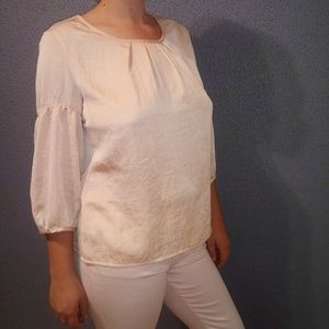 Talbots Champagne 3/4 Sleeve Pullover Blouse
